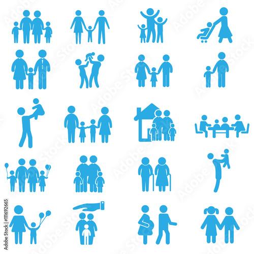 Fotografie, Obraz  Набор семейных иконок. Фигурки людей.