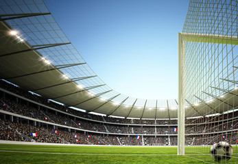 Fototapeta stadion piłkarski górna perspektywa za bramką
