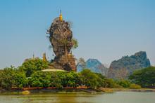 Kyauk Kalat Pagoda. Mawlamyine, Hha-an. Myanmar. Burma. Small Pagodas Have Been Erected On A Steep Rock.