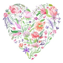 Panel Szklany Heart of Summer Watercolor Floral Illustration