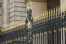 Wrought Iron Gate Decorated With Golden