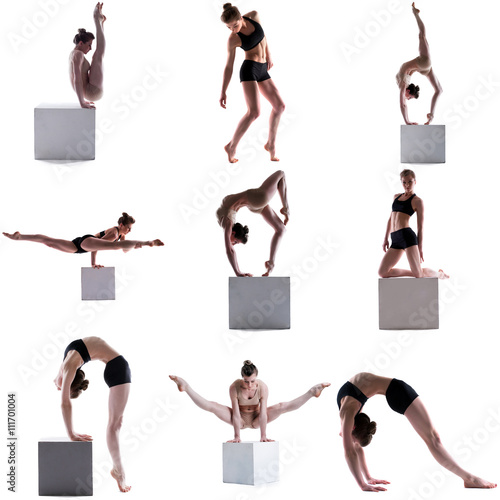 Foto op Aluminium Gymnastiek Gymnastics. Set of flexible girl posing on cube