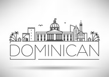 Minimal Dominican Republic City Linear Skyline With Typographic