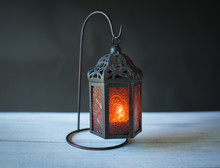 Metal Lantern With Red Glass With Space On Dark Background