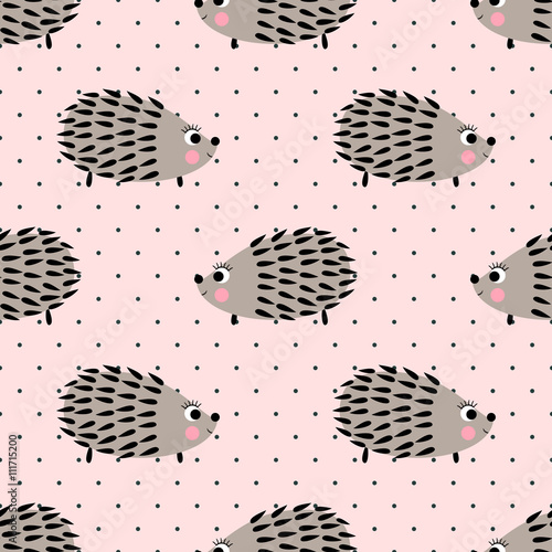 Cotton fabric Hedgehog seamless pattern on pink polka dots background. Cute cartoon animal background. Child drawing style baby hedgehog illustration. Kids design for fabric and decor.