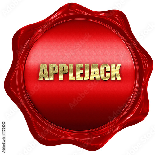 Photo  applejack, 3D rendering, a red wax seal