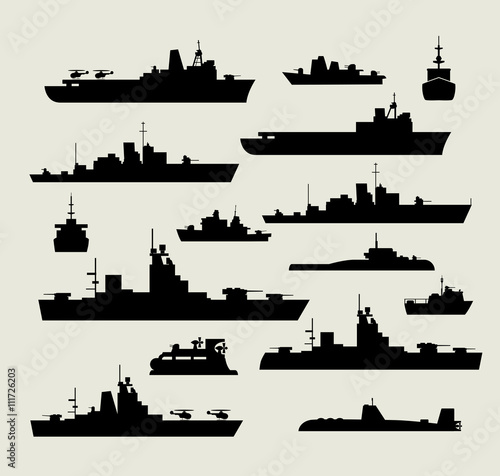 Canvas Print A set of silhouettes of warships for design and creativity