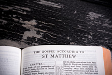 King James BIble Open To The Beginning Of The Book Of Matthew