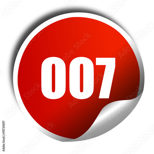 Foto  007, 3D rendering, a red shiny sticker