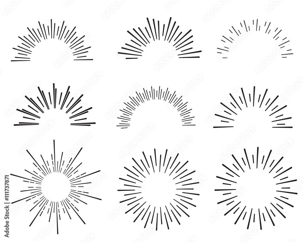 Fototapety, obrazy: hand drawn sunbursts and frame, vector illustration, graphic design, sunburst set, collection set