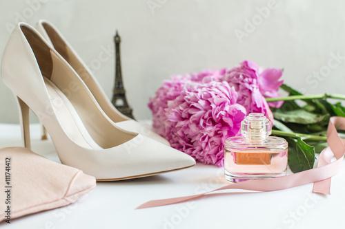 Photo  Women's Accessories: white shoes, toilet water, peonies, concept paris