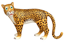 Look At Camera Leopard Cartoon Character