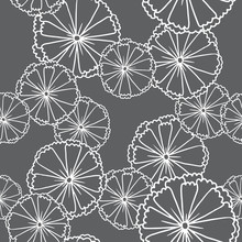 Vector Image Of Seamless Pattern Of Black Anemones On A Black Background. Black Flowers With A White Stroke. Made In Monochrome Style. Vector Seamless Pattern.
