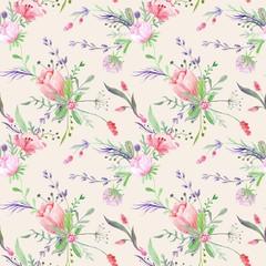 Panel Szklany Tulipany Vintage Provence Watercolor Texture