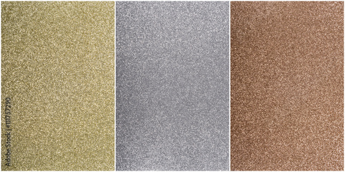 Fotografie, Obraz  Bronze, silver, and gold background in textured sparkle with thin white outline