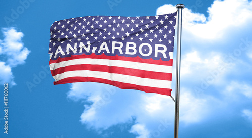 ann arbor, 3D rendering, city flag with stars and stripes Wallpaper Mural