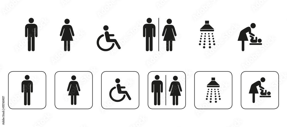 Fototapeta WC Symbole, signs, icons, sanitär, piktogramm