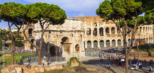 Fotografie, Obraz  Colosseo and arco di Costantino,  Rome