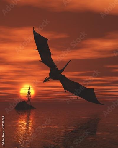 Plakat Smok Lata nisko Nad morzem przy zmierzchem - fantazi ilustracja