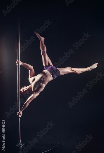 Pole Dance Male Athlete Canvas Print