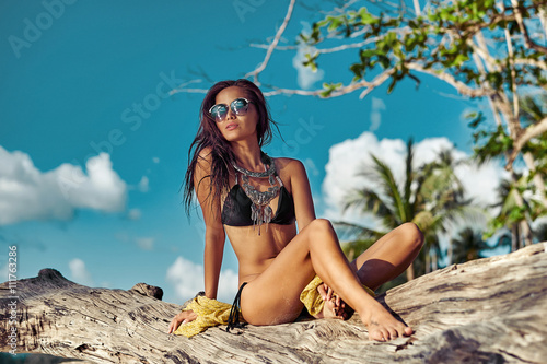 Fotografie, Obraz  fashion outdoor photo of sexy beautiful woman with long hair in