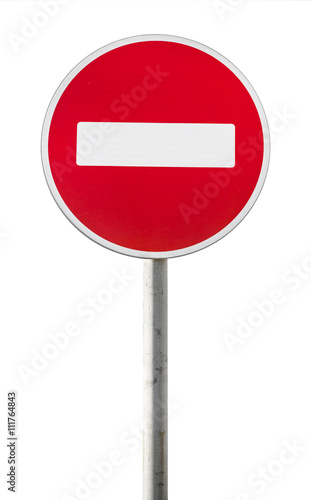 Isolated red road sign on metal pole. No Entry