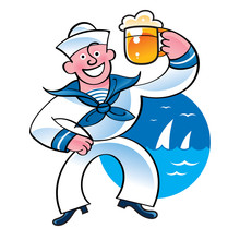 Merry Sailor Holding Beer Mug ...
