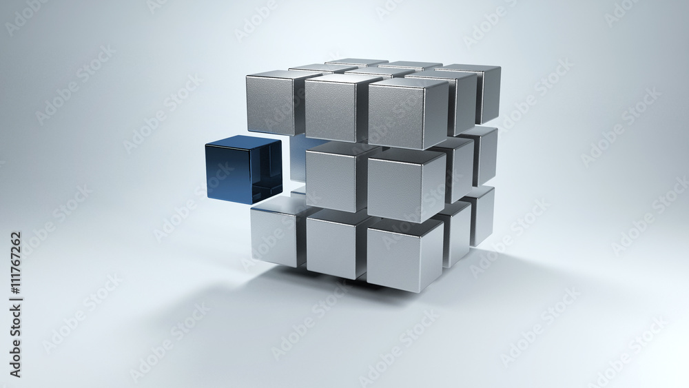 Fototapeta 3D cube with sections in gray and one in blue