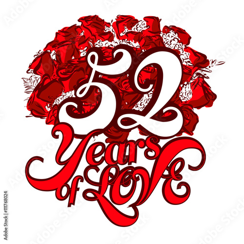 Poster  52 Years of Love with nice bouquet of roses