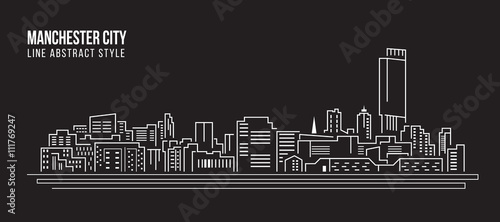 Photo Cityscape Building Line art Vector Illustration design - Manchester city