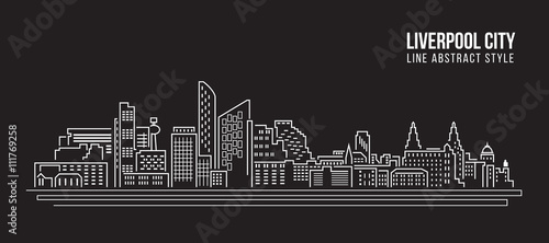 Cityscape Building Line art Vector Illustration design - Liverpool city