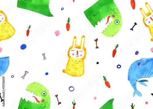 Materiał do szycia zwierząt akwarela, ilustracja kreskówka, królik, dino, wieloryb wzór