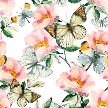 Watercolor Briar Flowers And Butterfly Seamless Pattern. Dog Rose Branches In Vintage Style