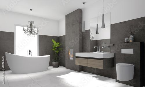 Fotografia  Luxuriöses modernes Badezimmer mit freistehender Badewanne