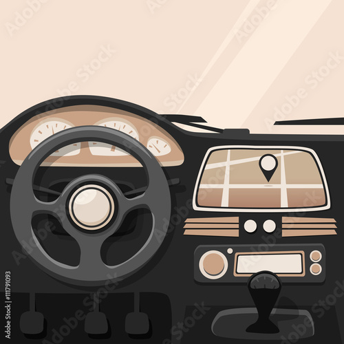 Staande foto Cartoon cars Vehicle interior. Inside car. Vector cartoon illustration
