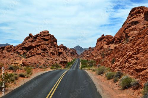 Fotografering  Strada nel deserto