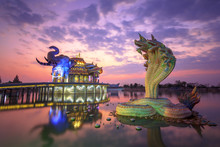 Wat Baan Rai Temple At Sunset , A Beautiful Temple In Thailand