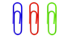 Red Paperclip Isolated On White Background.