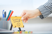 Sorry Text On Adhesive Note