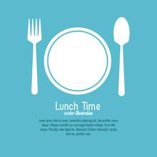 Lunch Time Design. Menu Icon. Flat Illustration , Editable Vector
