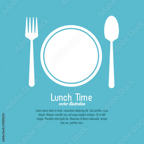 Photo Lunch time design. Menu icon. Flat illustration , editable vector