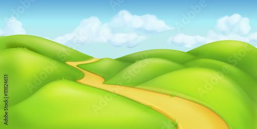 Foto op Aluminium Blauw Green landscape, vector background