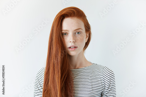 Pretty Student Girl With Perfect Healthy Freckled Skin -3738