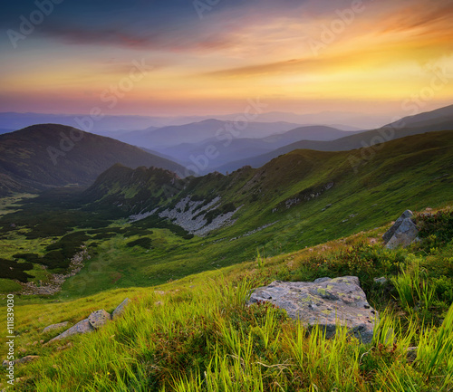 Fotobehang Bergen Mountain valley during sunset in summer time. Beautiful natural landscape