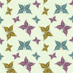 Fototapeta seamless pattern , cute cartoon butterfly light green background