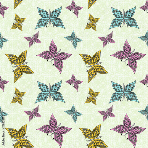 seamless pattern , cute cartoon butterfly light green background - 111842617