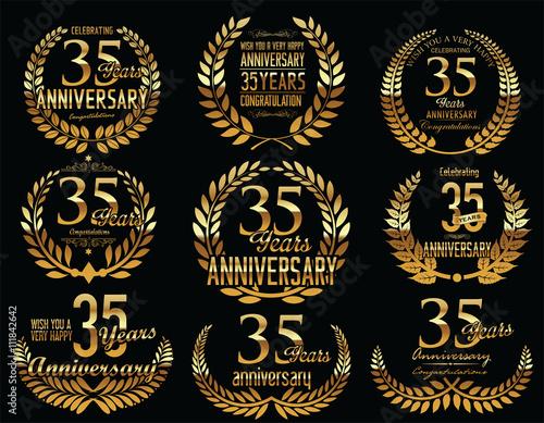 Anniversary Golden Laurel Wreath Retro Vintage Collection 35 Years