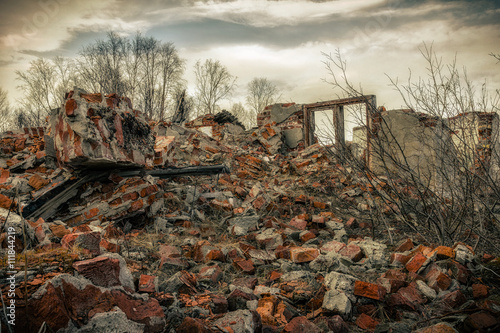 destroyed building the post apocalyptic landscape after a nuclear