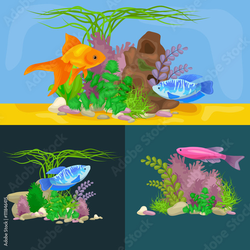 Recess Fitting Submarine Underwater vector world background with fish, seaweed and bubbles