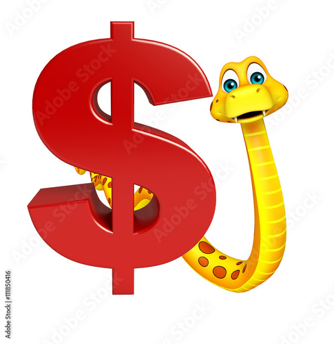 cute Snake cartoon character with dollar sign - Buy this